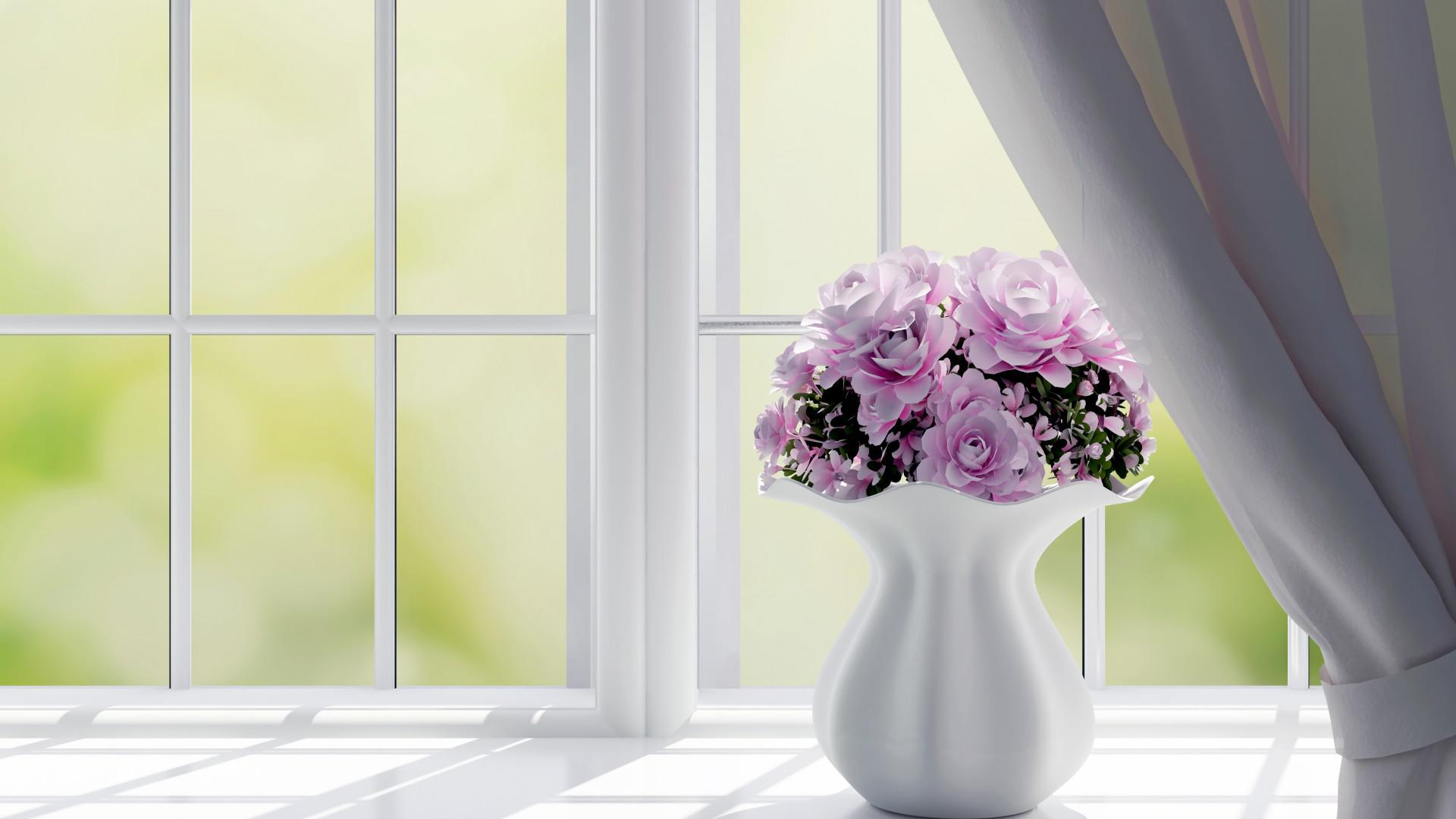 Image of: Elegant Flowers In The Window