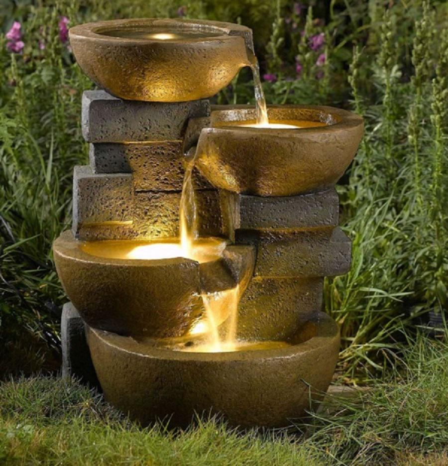 Image of: Garden Water Fountains With Lights