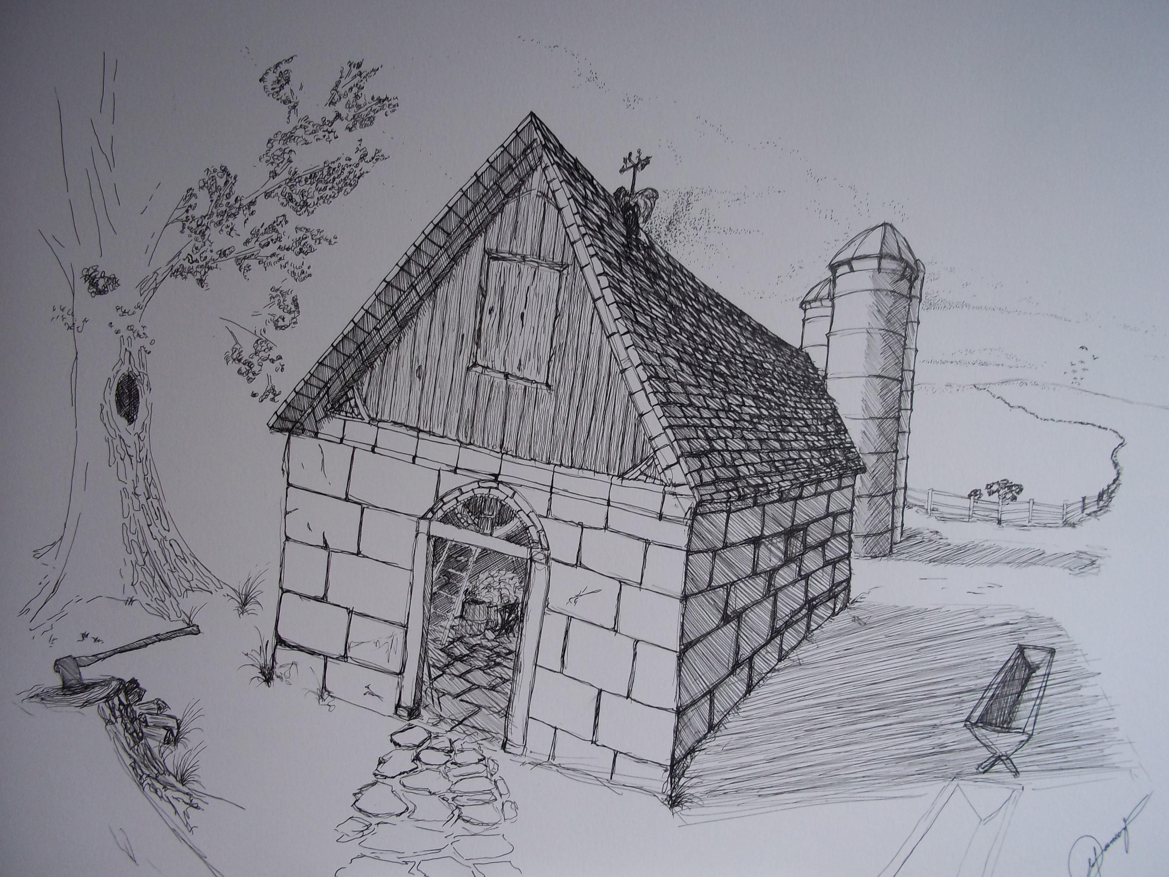 Image of: Houses Landscape Drawing Design