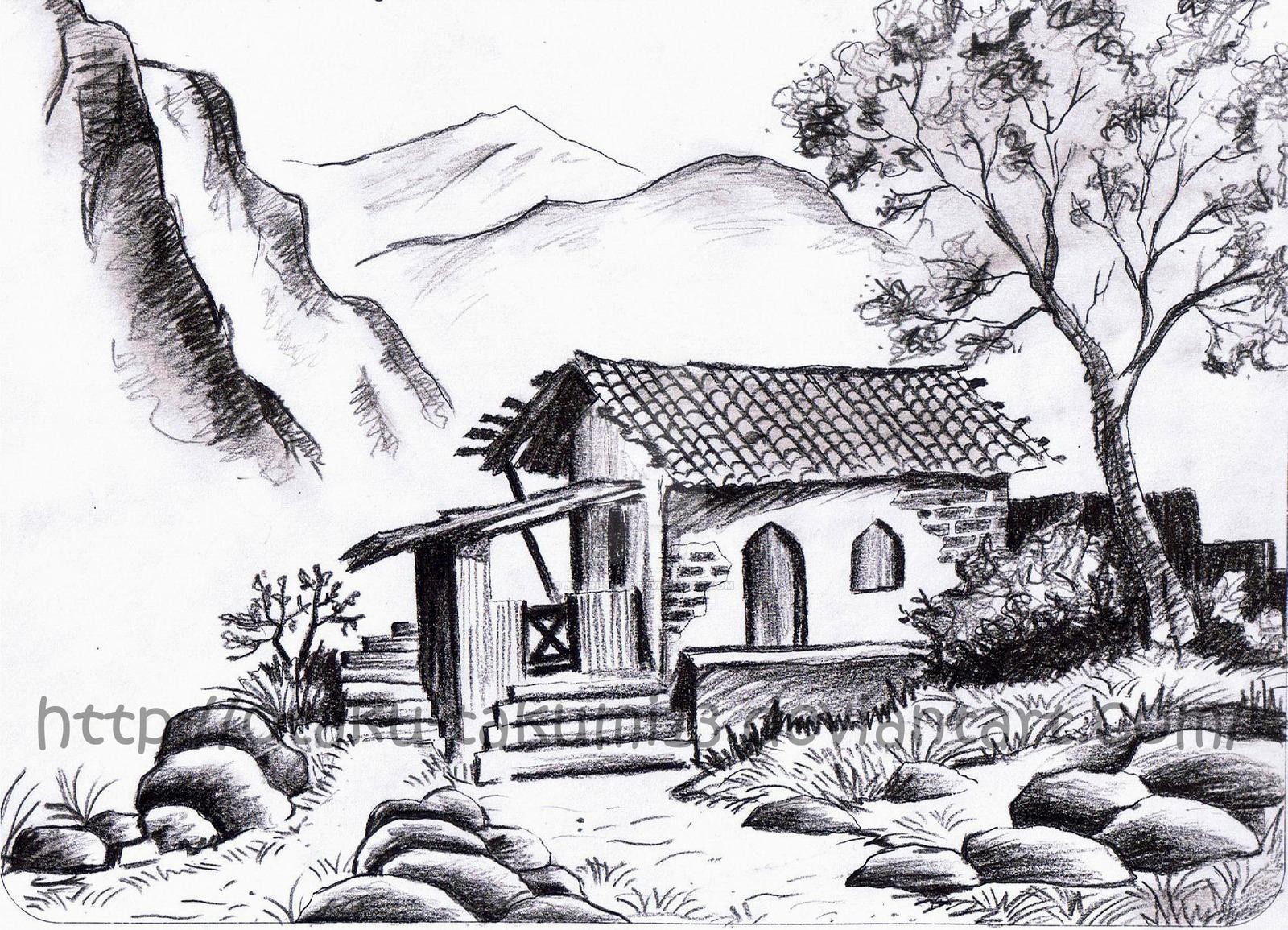 Image of: Houses Landscape Drawing