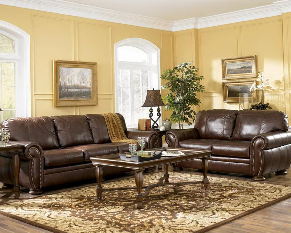 Image of: Living Room With Brown Furniture Decorating Ideas