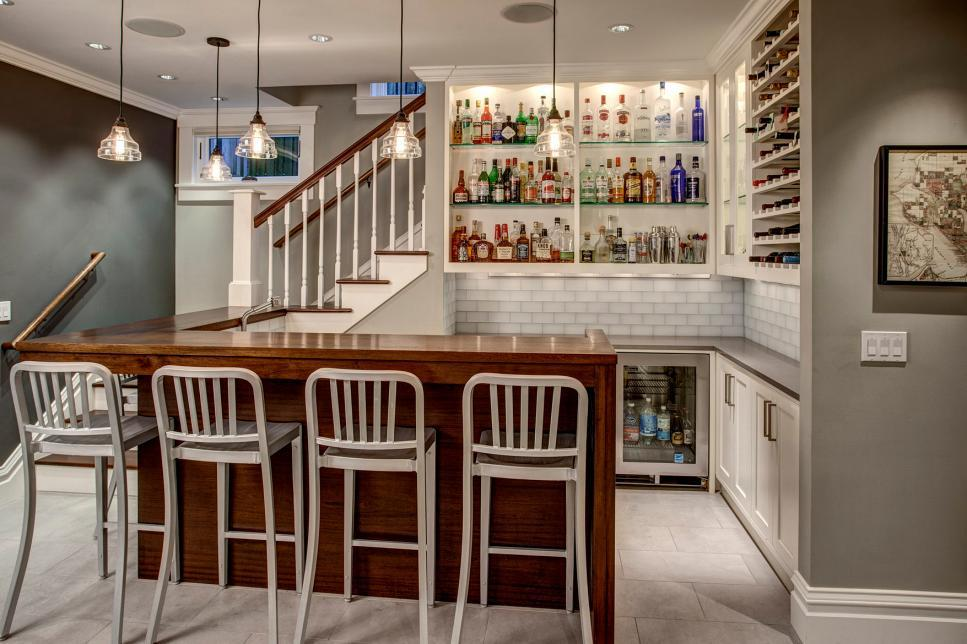 Image of: Mini Bar Counter Under Stairs