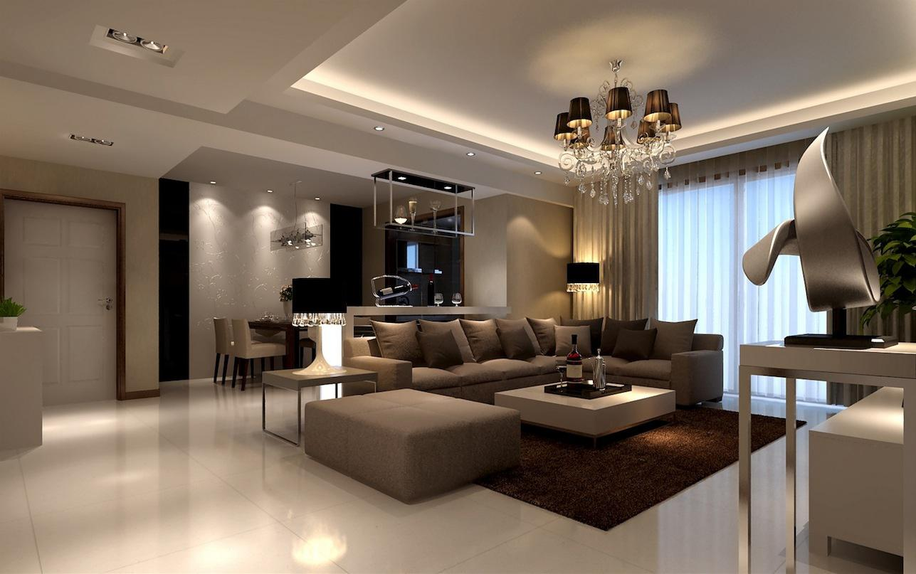 Image of: Modern Living Rooms Brown Theme Design