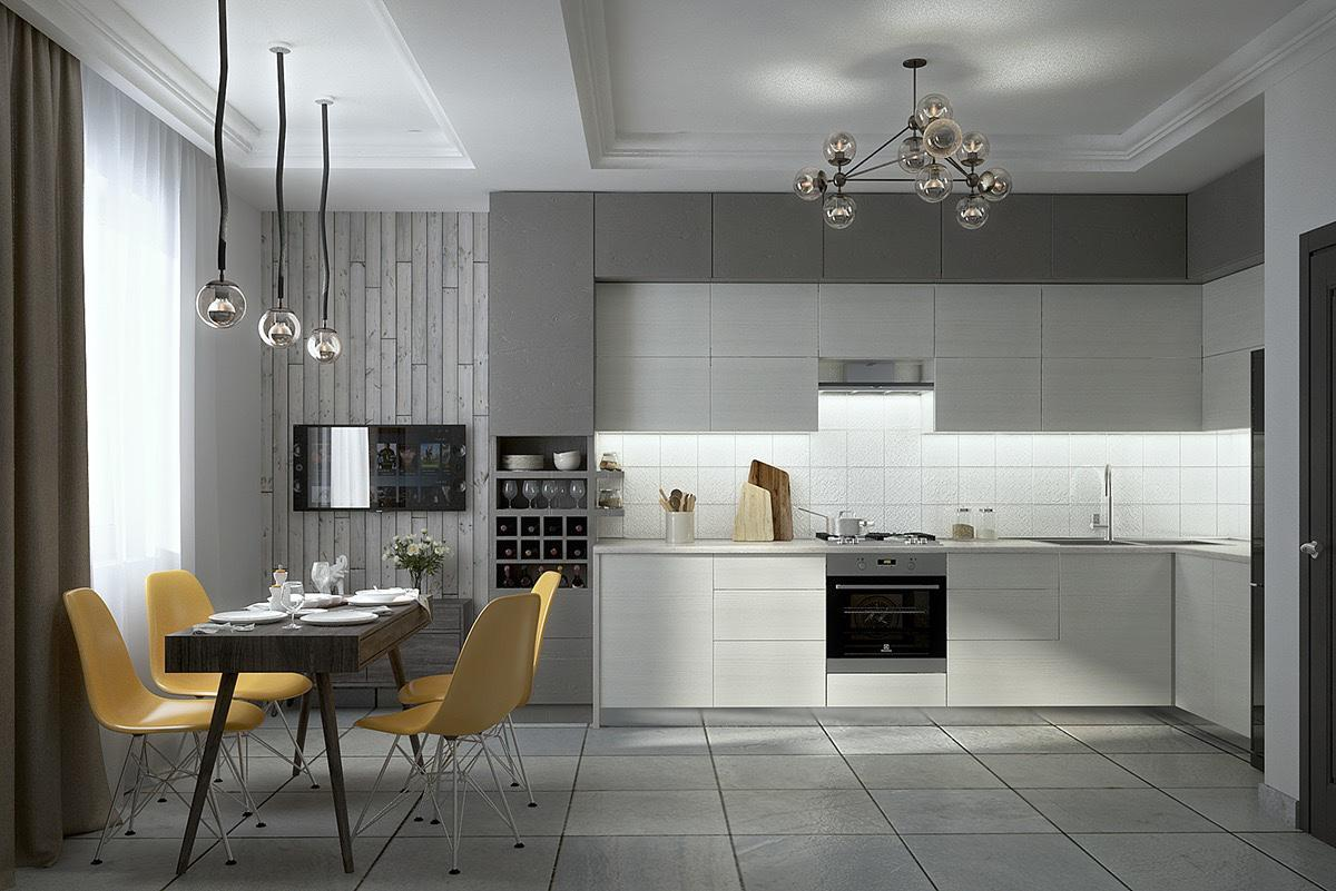 Image of: White And Gray Kitchens With Islands