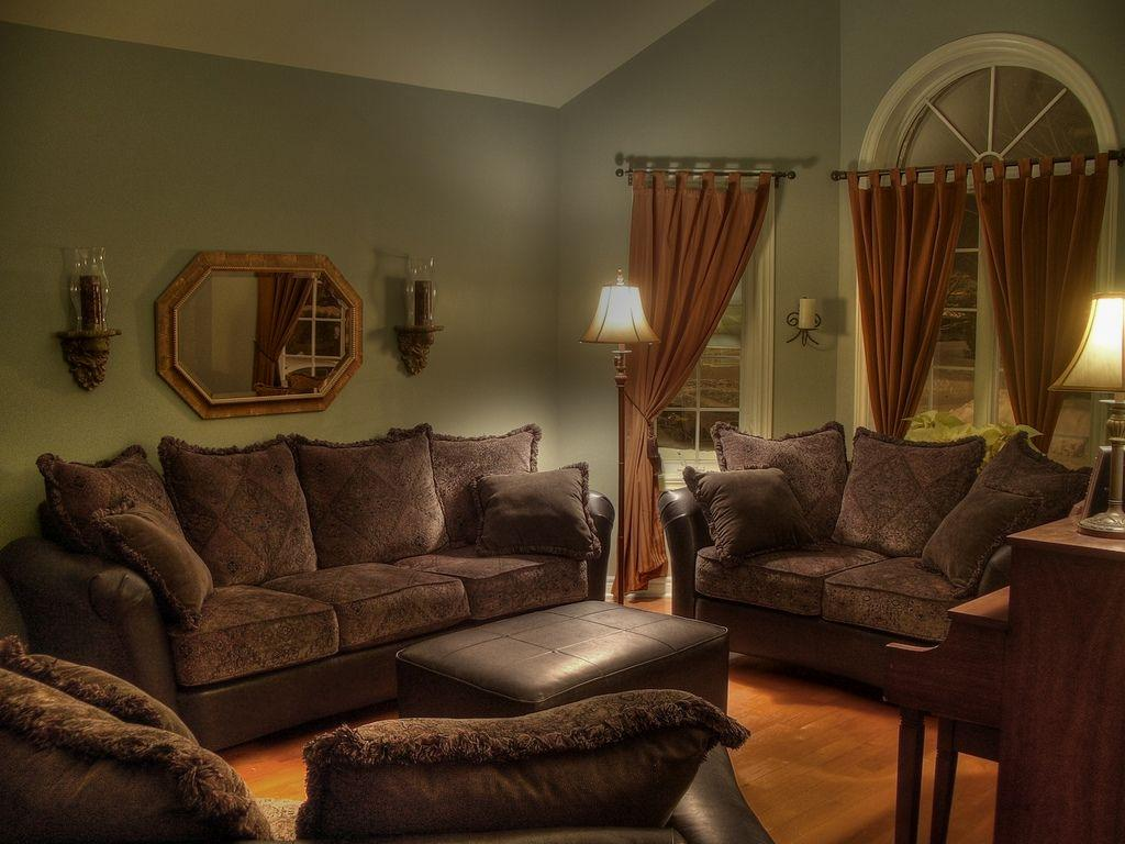 Image of: Living Room With Brown Furniture